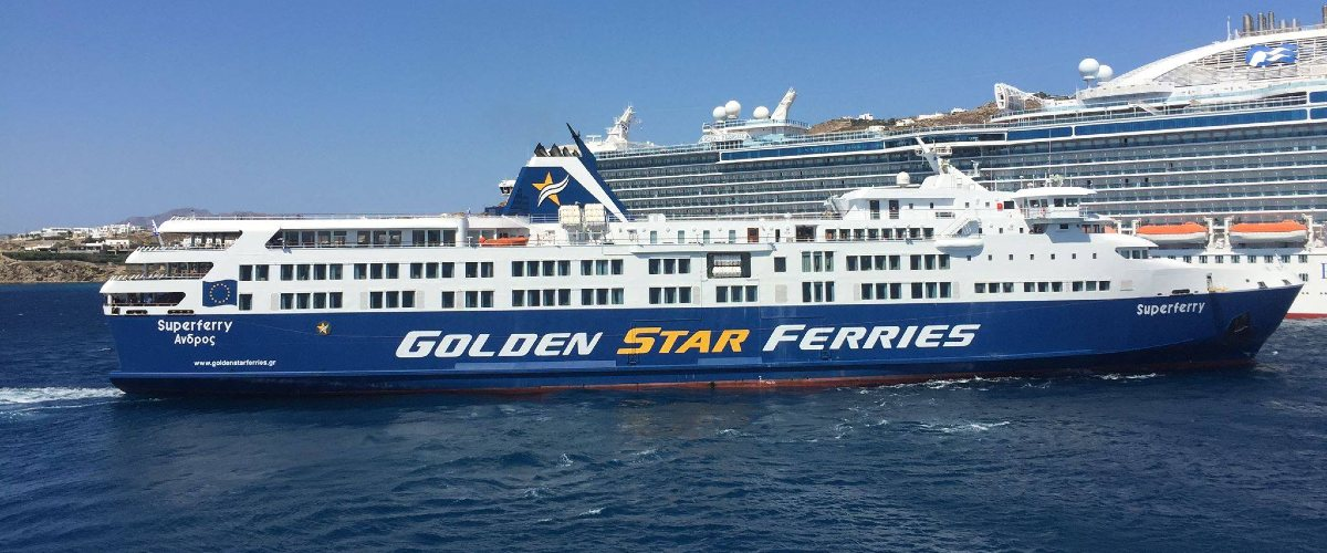 white and blue ferry of Golden Star Ferries, sea