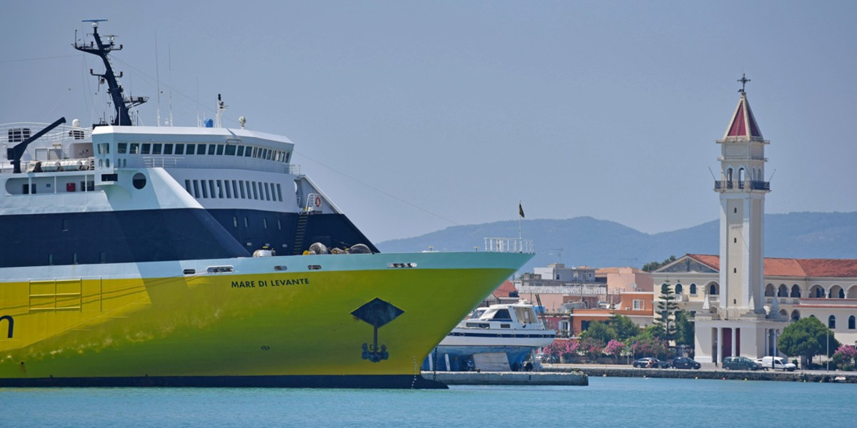 yellow and blue ferry, sea, church