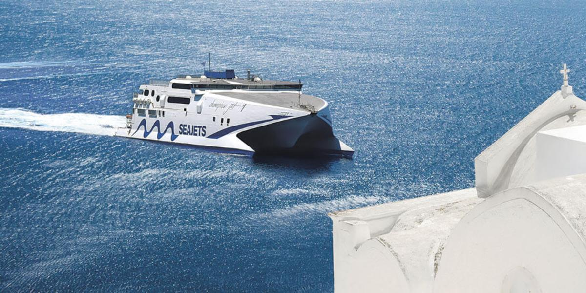 high speed ferry from Seajets, sea, white church