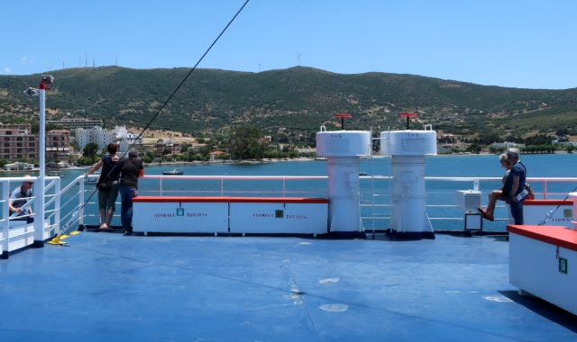 Passengers on a ferry deck, travelling to the Sporades islands, view, sea, nature, holidays, ferry tickets