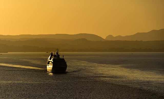 sunset, ferry, sea, yellow sky