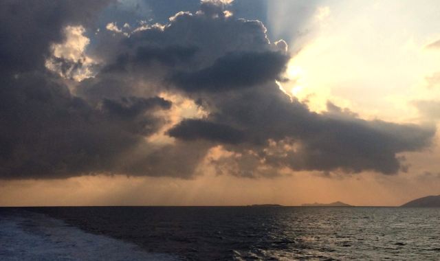 sunset over the sea, gray clouds, sea, Sikinos