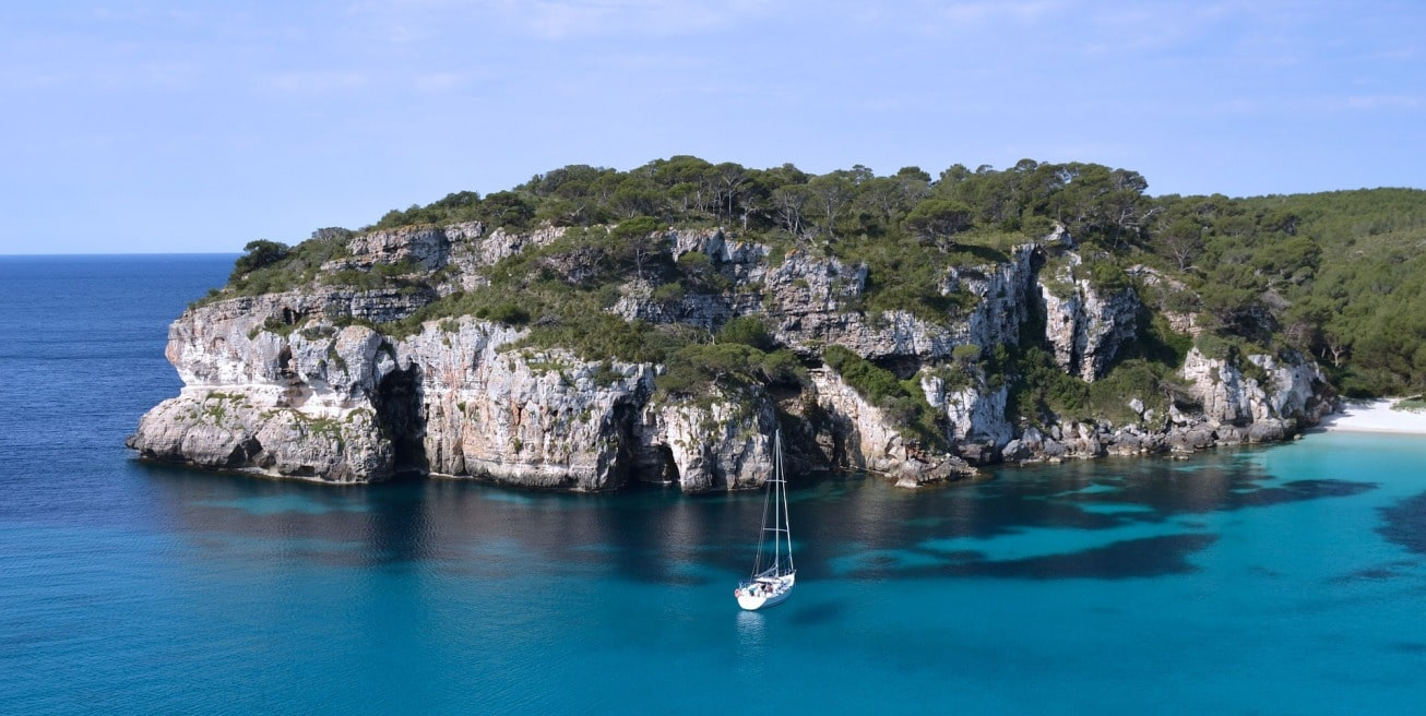 formentera, mediterranean, balearic islands, rock, forest, sailing boat, crystal-clear waters