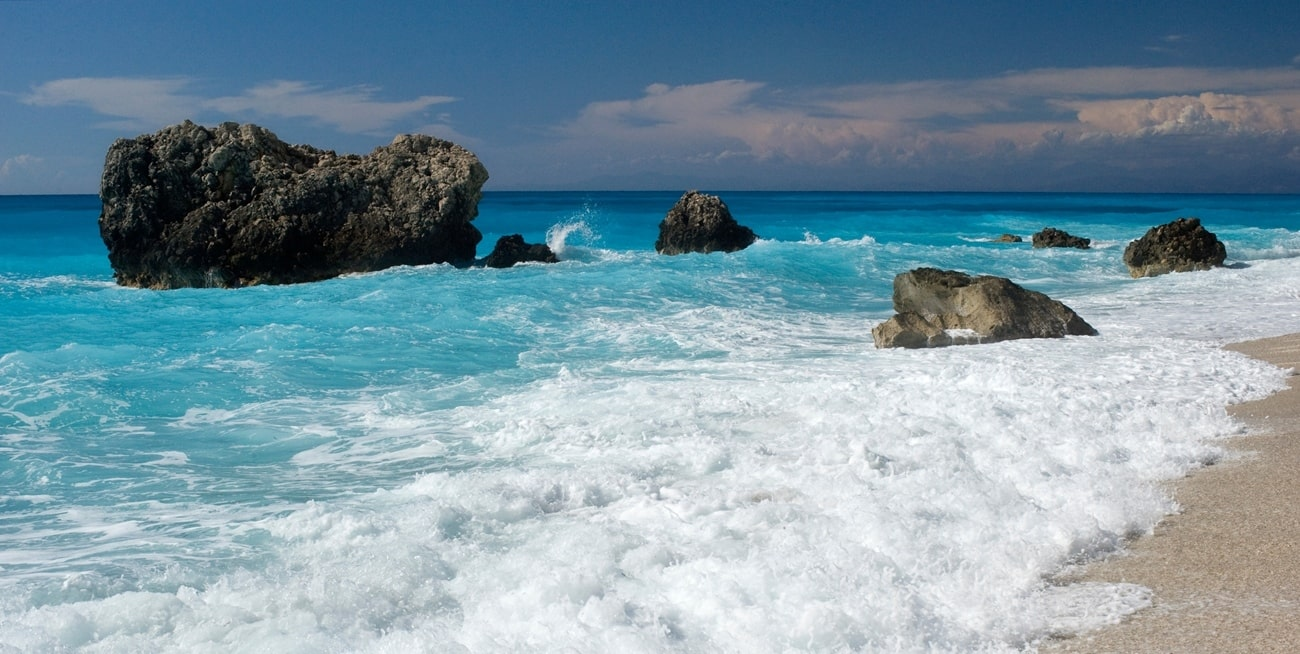 Impressive rocks in the turquoise waters of Lefkada