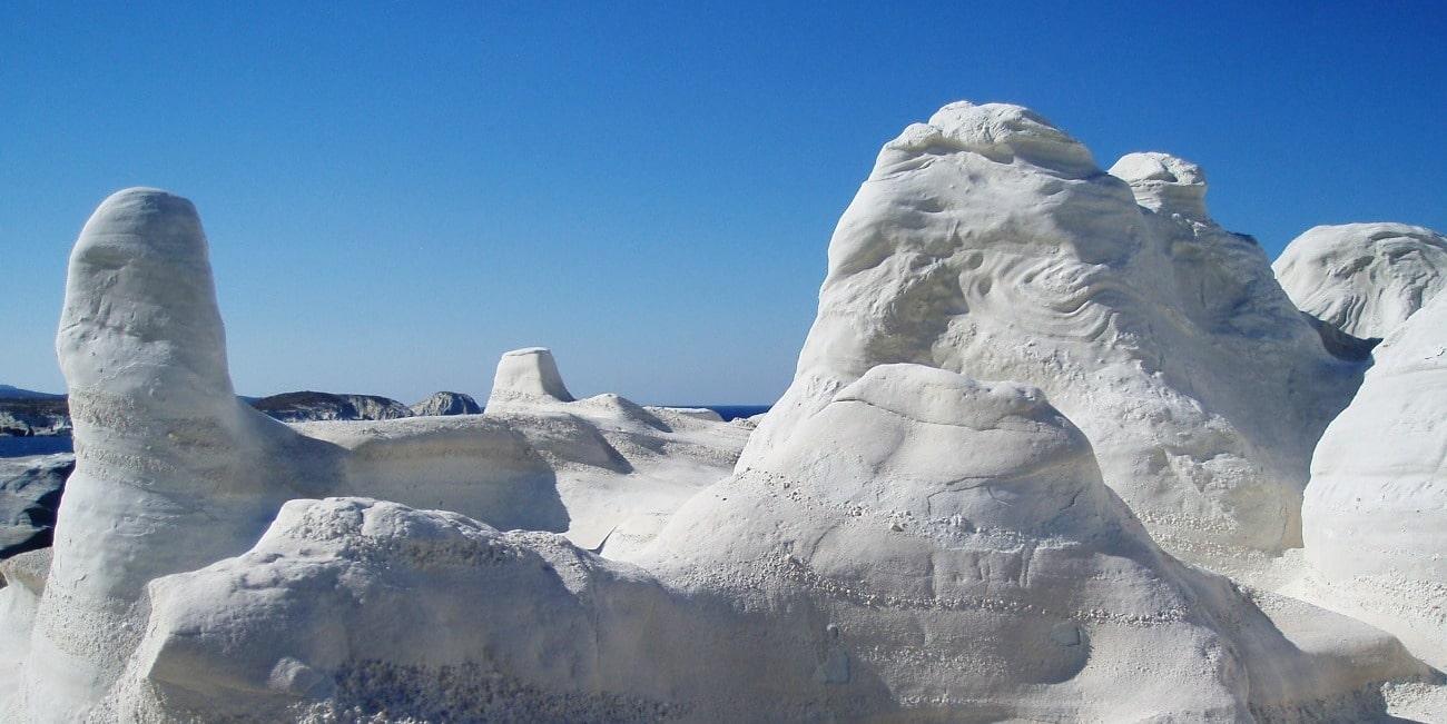 Impressive rock formations on the beach of Sarakiniko in Milos
