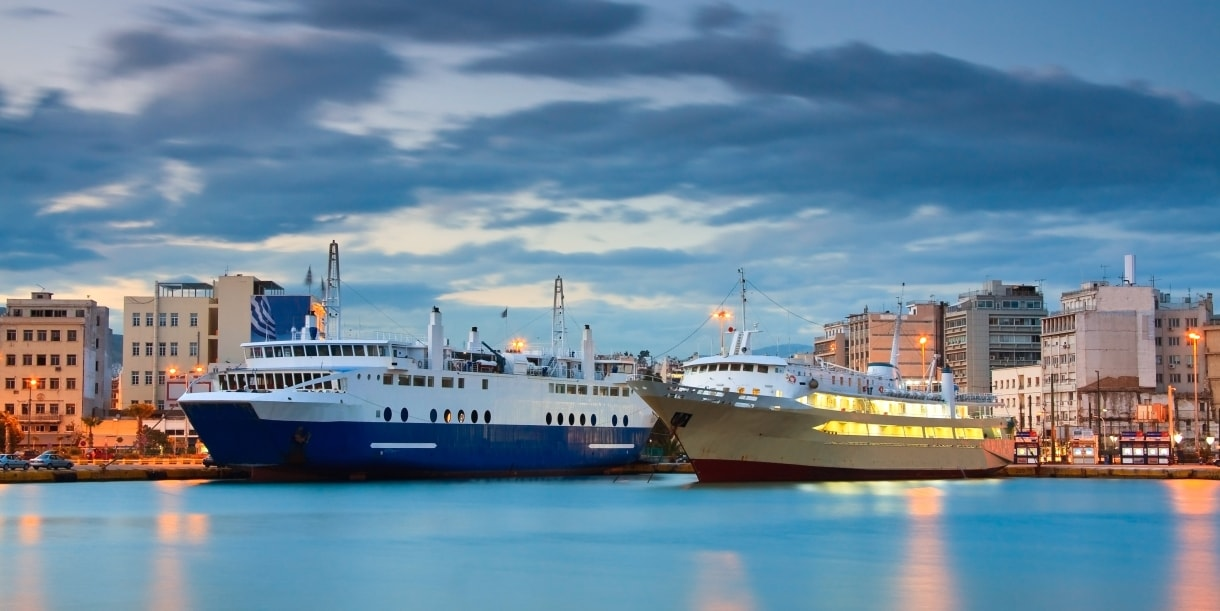 boats at the port of Piraeus, buildings, sky, clouds, lights, evening