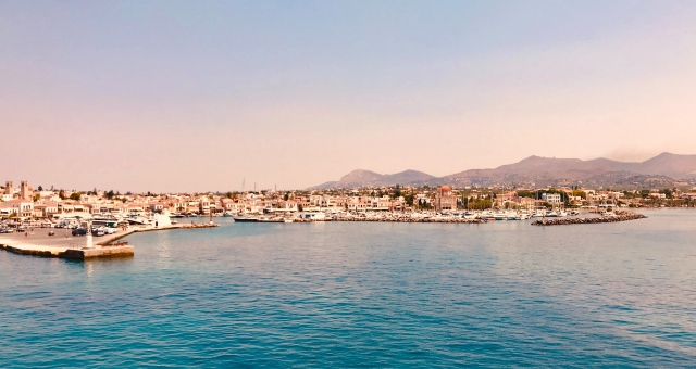 The main port of Aegina as seen from the ferry arriving at the island