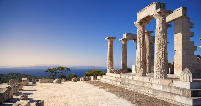 The Temple of Aphaia on the top of a hill in Aegina