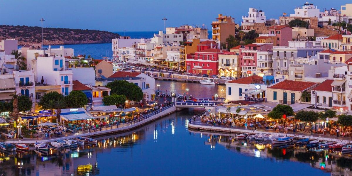 The lively port of Agios Nikolaos in Crete