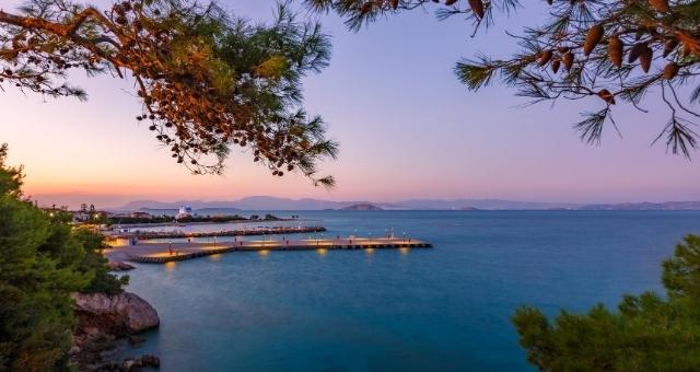 ηλιοβασίλεμα στη Σκάλα, Αγκίστρι, λιμάνι, θάλασσα, πεύκα