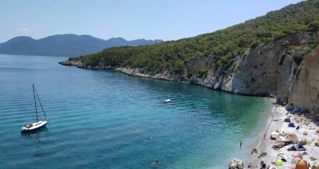 Beach of Chalkiada in Agistri, sailing, camping, sandy beach, blue sea, green island, ferry routes