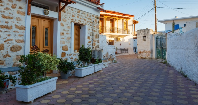 The village of Megalochori in Agistri island, Saronic Gulf, walking around, island life, ferry tickets