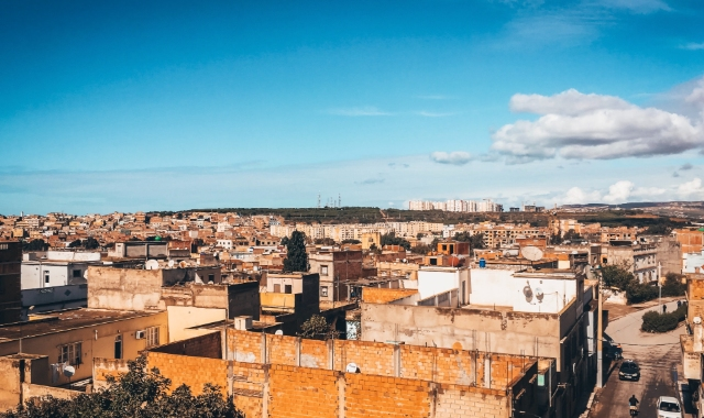 mostaganem, algeria, north africa, buildings, neighborhood, arab architecture, sunny day, clear sky, brick walls