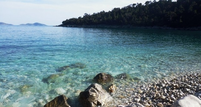 Crystal clear sea and pebbles in Alonissos