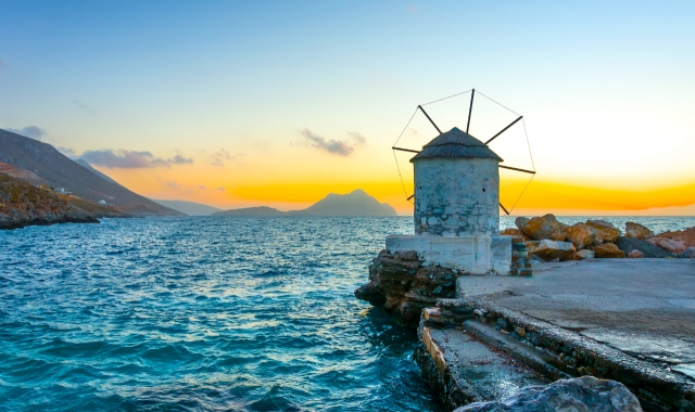 beach, windmill, sunset, Amorgos island summer holidays in Greece
