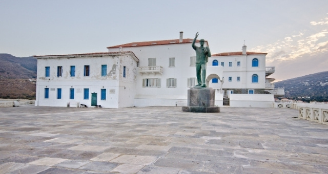 Statue, Unknown sailor, Andros town, museum, white buildings, blue windows, town square