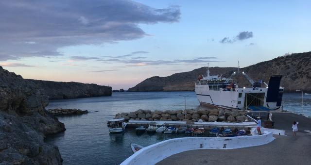 Ποταμός, λιμάνι, Αντικύθηρα, ηλιοβασίλεμα, πλοίο, σύννεφα