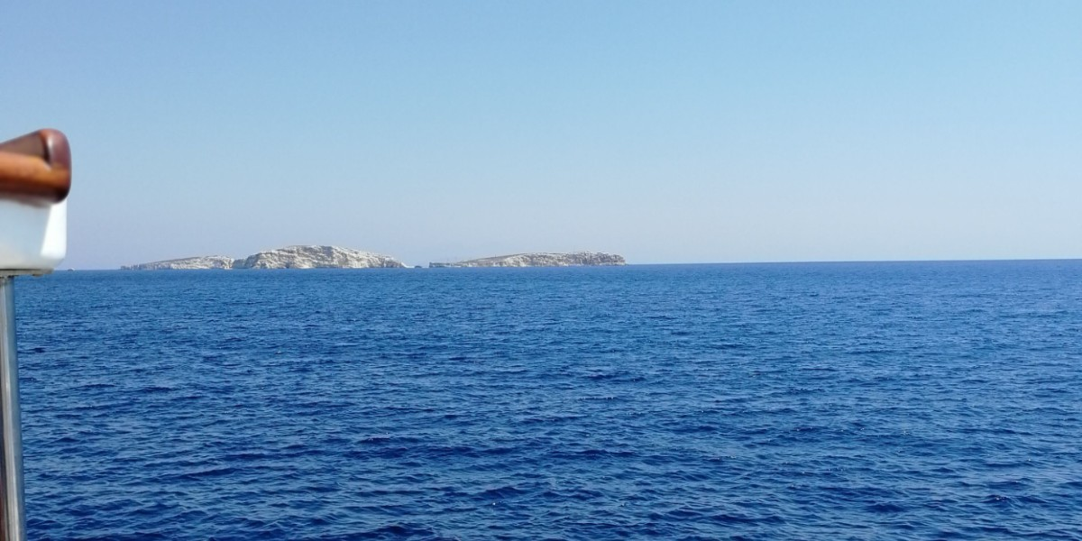 Ferry arriving in Arkioi island