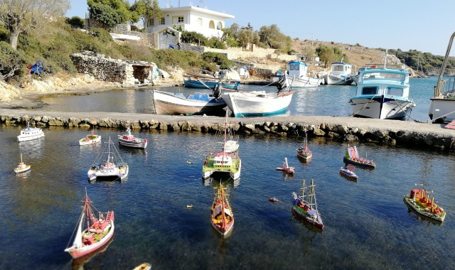 Small boats at the port of Arkoi