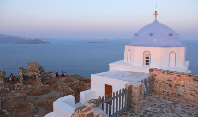 sunset in Astypalea, church, ruins, photo opportunity, ferry tickets for the Greek islands
