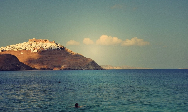 the Chora of Astypalea, viewed from a nearby beach. Holidays in the Dodecanese - cheap ferry tickets