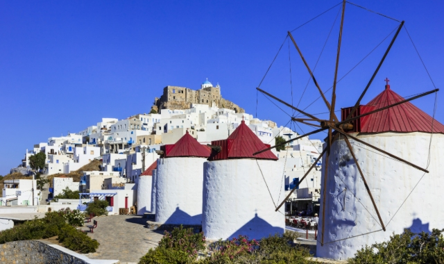 white windmills, red roofs, Venetian castle, the town of Astypalea