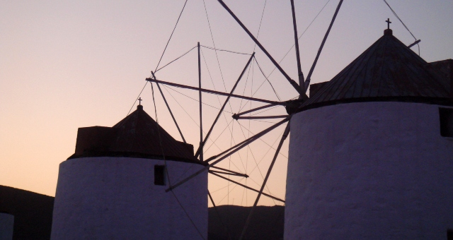 Mills in the town of Astypalea, sunset, colors, sights