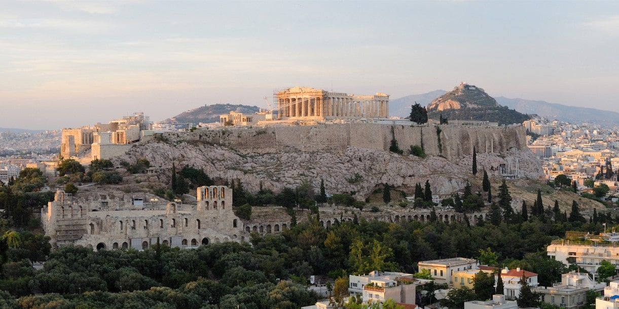 The Acropolis rock, the Parthenon and the Odeon of Herodes Atticus in the city of Athens