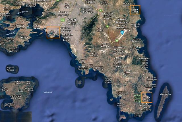 La ubicación de los puertos de Atenas como se ve en Google Earth