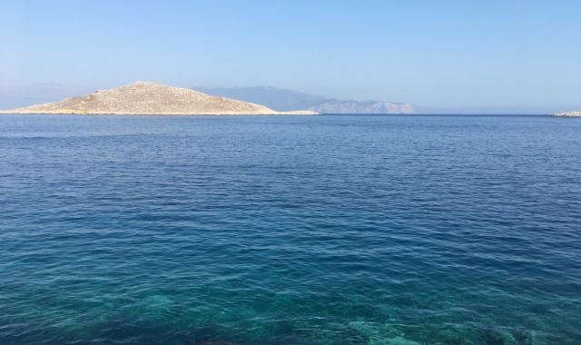sea, blue, crystal clear waters, island, Chalki