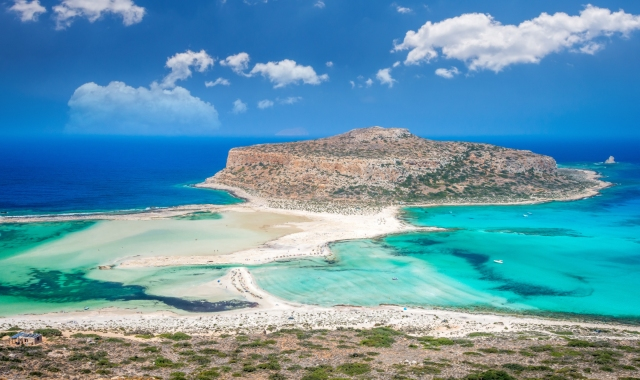 crystal, turquoise waters in Balos beach