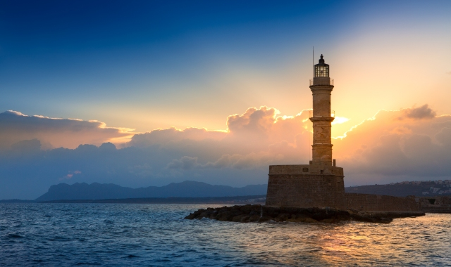 The lighthouse in Chania under the sunset