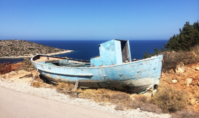 blue boat, sea view, dirt road, Chios, ferry tickets to the Aegean
