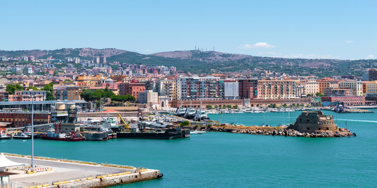 Aerial view of the picturesque port of Civitavecchia, sea, colors, ferry routes to Italy