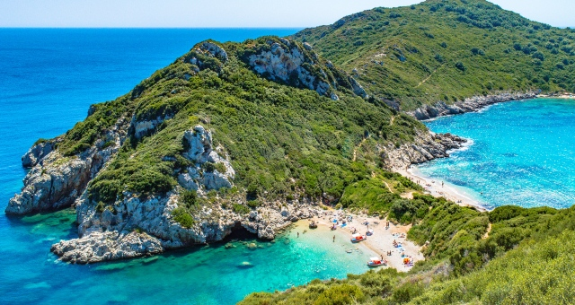 Beach in Corfu, nature, natural cove, blue sea, holidays in Ionian islands, island-hopping