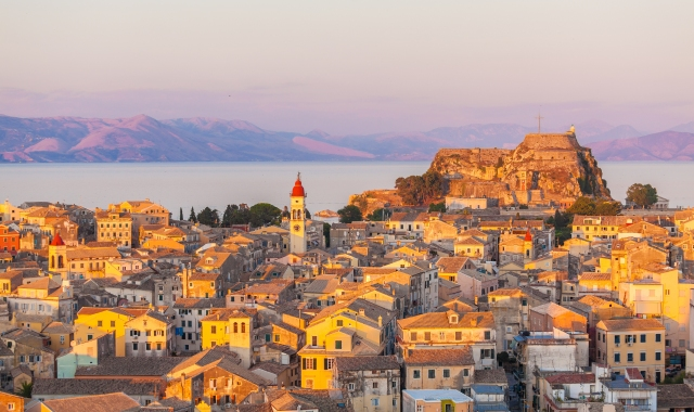 Aerial view of the old town of Corfu