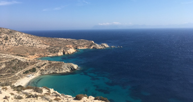 View from hiking route in Donousa island, Small Cyclades, Aegean sea, summer holidays, ferry tickets