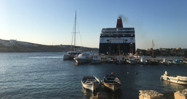port in Donoussa, ferries, boats, sea