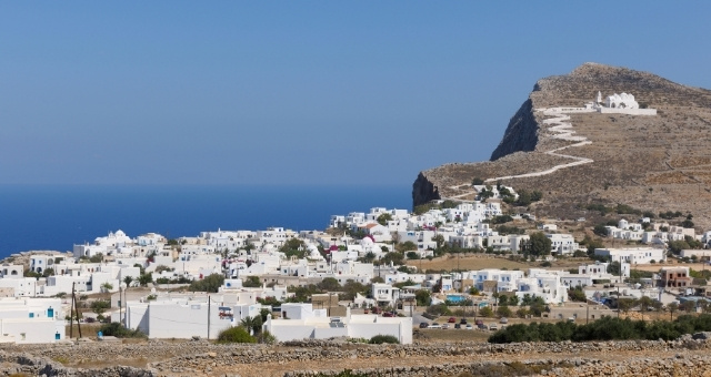 Chora of Folegandros, island, village, white houses, cliff, church, stairs, blue sea, view