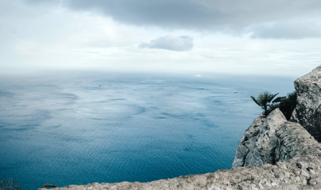 View from the rock of Gibraltar, cliff, sea, Tangier, ferry route