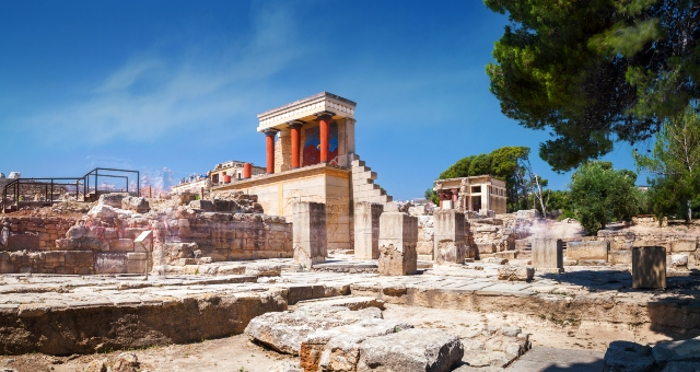 Archaeological site of Knossos near Heraklion, red columns, historical monument