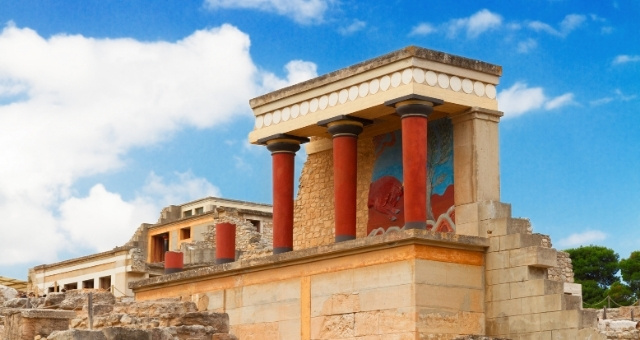 Knossos, minoan civilization, ruins, red columns, palace, wall painting, blue sky
