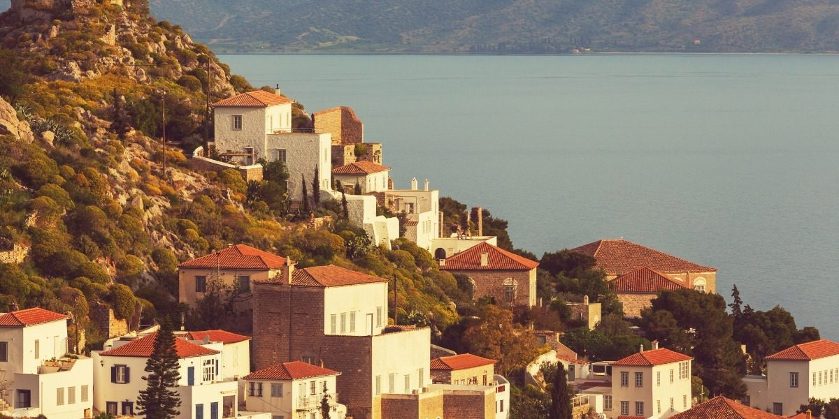 Traditional houses on a hillside in Hydra