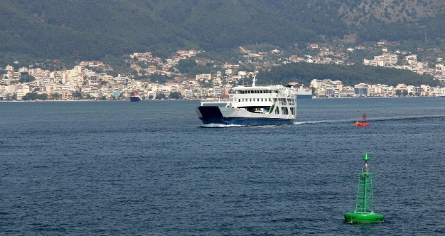 Ferry boat departing from the port of Igoumenitsa, coastal city in Epirus