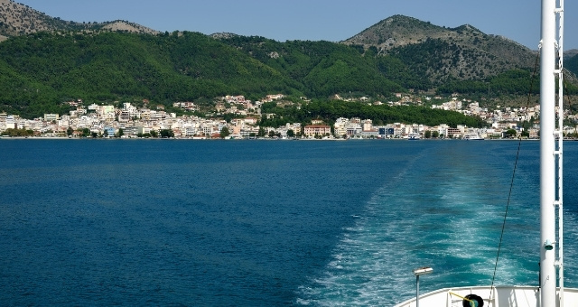Ferry leaving the port of Igoumenitsa, houses, architecture, mountain, forest, Ionian sea