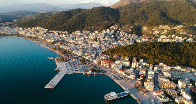 The port of Igoumenitsa in Western Greece from above
