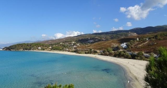 The sandy beach of Mesakti in Ikaria