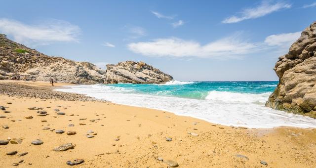 beach with sand, rocks, Nas, Ikaria