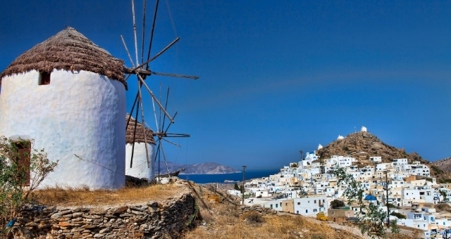 The beautiful windmills of Ios in the village of Chora