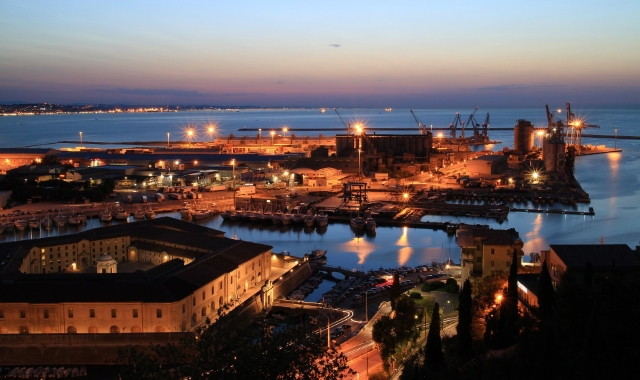 Evening lights at the port of Ancona, Italy - medieval port - ferry routes to Greece